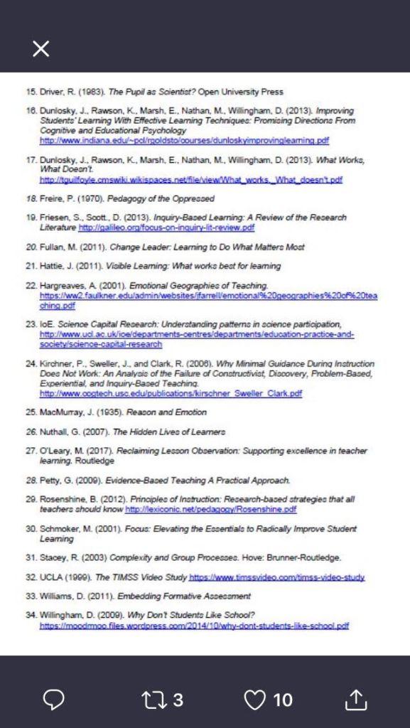 Reading list UKEdResChat 2 – Teacher/Mum